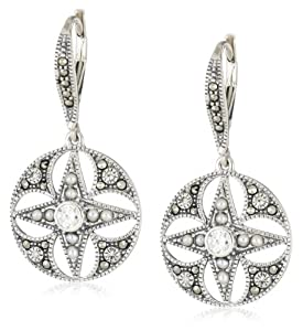 """Judith Jack """"Winter Sparkle"""" Sterling Silver, Marcasite and Pearl Giftable Earrings"""