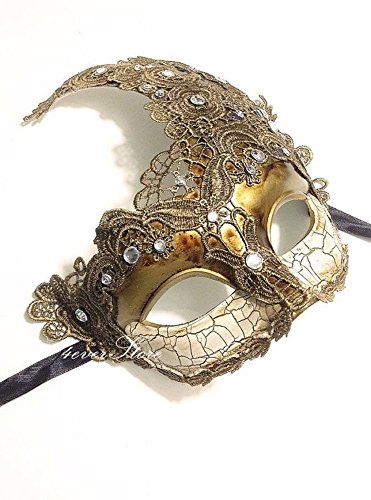 Venetian Goddess Masquerade Mask Made of Resin, Paper Mache Technique with High Fashion Macrame Lace & Rhinestones [Gold] (Paper Mache Masquerade Mask compare prices)