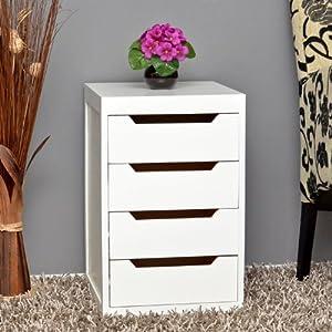 Commode moderne en blanc table d 39 appoint meuble salle de Meuble salle de bain amazon