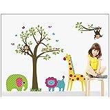 Discountfan Large Colorful Tree & Jungle Animals Wall Sticker Nursery Bedroom Wall Art Decor Cute Giraffe Monkey Owl Tree Art Wall Stickers Kids Room Removable Decal Baby Bedroom Wall Art