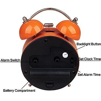 HENSE Classical Retro Twin Bell Mute Silent Quartz Movement Non Ticking Sweep Second Hand Bedside Desk Analog Alarm Clock with Nightlight and Loud Alarm HA01 (Orange)