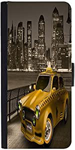 Snoogg New York City Cab 2671 Graphic Snap On Hard Back Leather + Pc Flip Cov...