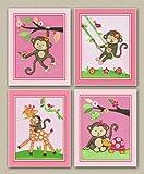 """Miss Monkey Nursery Art Prints (8""""x10"""", Set of Four)"""