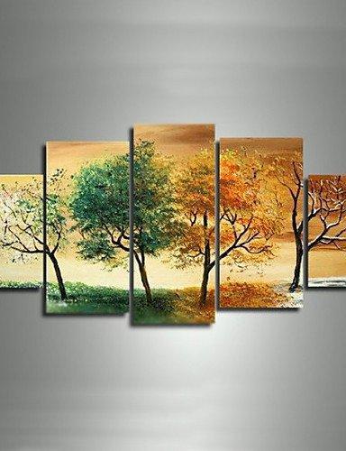FEI&S dipinte a mano paesaggio moderno 4 Stagione Tree Foto dipinti a olio su tela 5pz/non impostare alcun telaio,Pittura solo