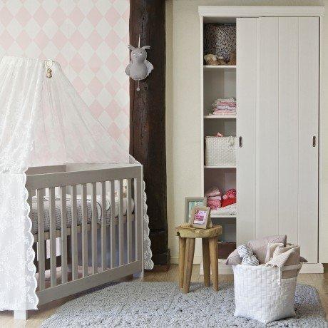 Alfred & Compagnie - Lit bébé bois massif 60x120 gris béton