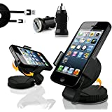 Excellent Accessories® Nokia Lumia 630 / 635 - Dedicated In Car Holder Windscreen Suction Mount with 360 Degrees Rotation Function & Micro USB Data Cable & Micro USB In Car Bullet Charger 3-in-1 pack