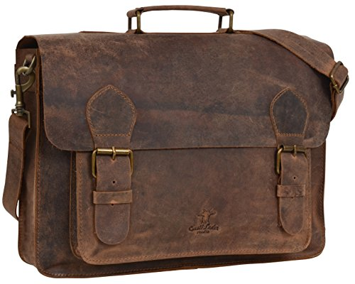 Gusti Leder studio ''Floyd'' borsa a tracolla (Portatile 15,4'') College Università Studente City Backpack Business Escursioni marrone 2M1-17-1