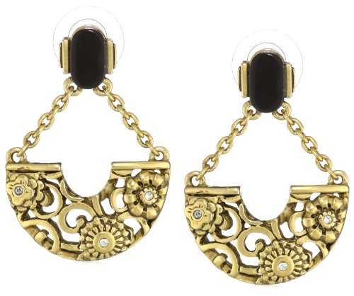 T Tahari Gold Tone with Black Resin and Crystal Half Moon Drop Earrings