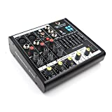 MAXTOMARS B4 4-Channel Mixer with USB Player, Graphics EQ, Mono Mic / Line & Stereo Mixer