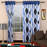 Ajay Furnishings 3 Piece Polyester Modern Window Curtain - 5 ft, Blue