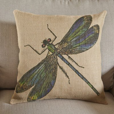 Birch Lane Natural/Organic Decorative Dragonfly Burlap Throw Pillow Cover with Zipper and Wildlife Theme Graphic print pattern