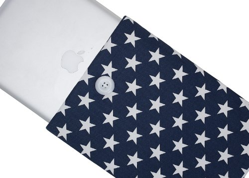 #!  Kuzy - 15-inch Navy Blue Stars Cotton Sleeve Handmade Cover for MacBook Pro 15.4