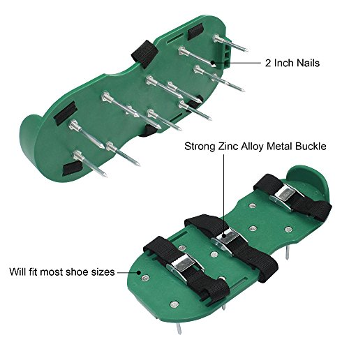 Maggift Lawn Aerator Shoes Nylon, Grass shoes Spikes 3 Straps with Metal Buckles Size Adjustable