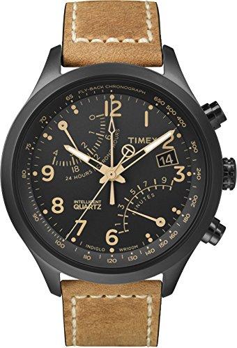 Timex Intelligent Quartz Racing Flyback Black Dial Oiled Leather Belt T2n700 Men