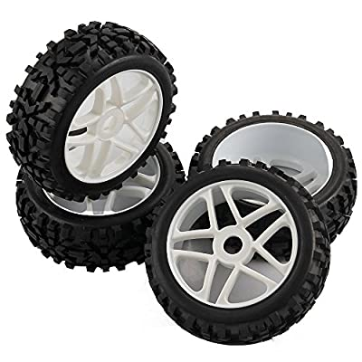 SkyQ 4pcs RC 1/8 Scale Off Road Car Buggy RC Tires Tyre and Wheels for Redcat HSP HPI White