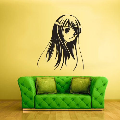 Wall Vinyl Decal Sticker Bedroom Decal Anime Manga Face Girl Head Hairs z2336 (Manga Head compare prices)