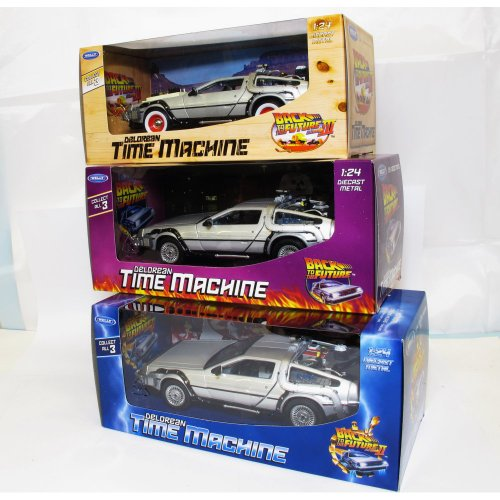 Hot Welly TY123 Back to the Future BTTF Set of 3 Delorean 1:24 Scale Diecast Model Cars - 12 Each - 36 Models in Total