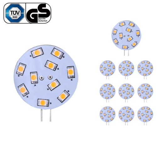 Le 1.5W G4 Led Bulb, Equivalent To 20W Halogen Bulb, 12Vac, Bi-Pin Light Bulb, Warm White, Pack Of 10 Units