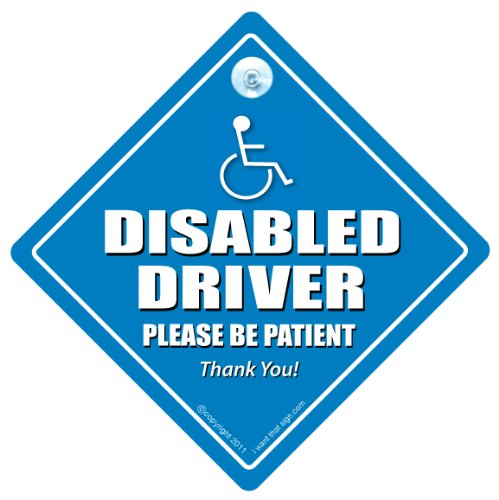 DISABLED DRIVER PLEASE BE PATIENT Car Sign, Disabled Car Sign, Disabled Driver Car Sign, Disability Car Sign, Mobility Car Sign, FREE UK Postage, Disabled Sticker, Wheelchair User Car Sign