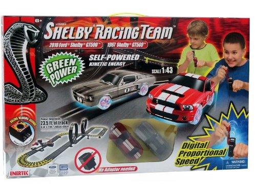 Enertec Shelby Team Self Powered Slot Car Road Race Set W/ 2 Cars