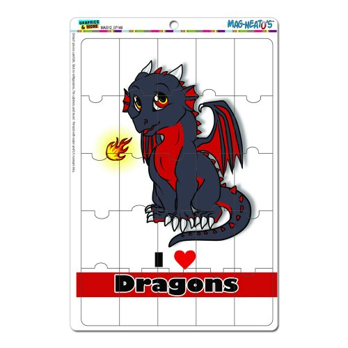 Graphics And More Dragon Baby I Love Heart Dragons Red And Black Mag-Neato'S Novelty Gift Locker Refrigerator Vinyl Puzzle Magnet Set front-575220