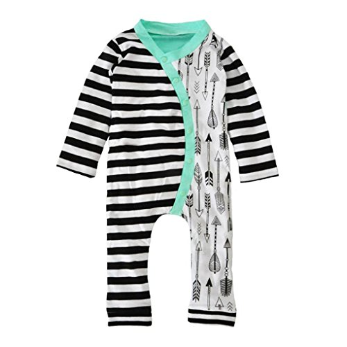 AMA(TM) Baby Girl Boy Long Sleeve Stripe Romper Jumpsuit Outfits Clothes (6M, Black)