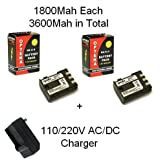 2 Canon NB-2LH Replacement Batteries 900mAh Each High Capacity Li-ion Battery Packs 1800MAH In Total With 1 Hour...