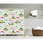 Ambesonne Flamingo Decor Collection, Flamingo Bird and Tropical Flowers Fruits Pineapples Plumeria Vintage Style Art, Polyester Fabric Bathroom Shower Curtain, 75 Inches Long, Pink Salmon Coral Green