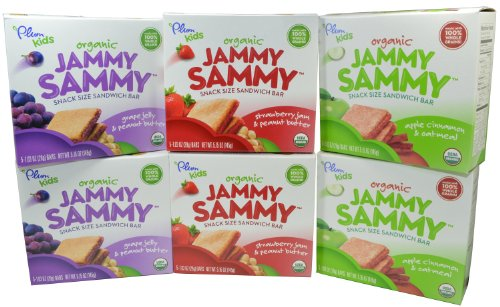 Plum Organics Kids Jammy Sammy Snack Size Sandwich Bar Variety Pack of 6 - 1