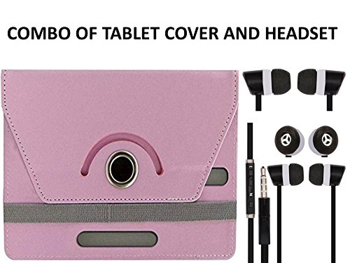 Value Combo Of Babypink Tablet Book Flip Case Cover And Black Headset Earphones For Micromax Canvas Tab P470 With 3.5mm Jack