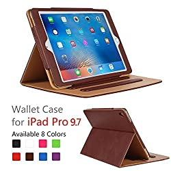 iPad Pro 9.7 Case - Leather Stand Folio Case Cover for Apple iPad Pro 9.7 Inch Case 2016, with Multiple Viewing Angles, Document Card Pocket ,Color (Brown)
