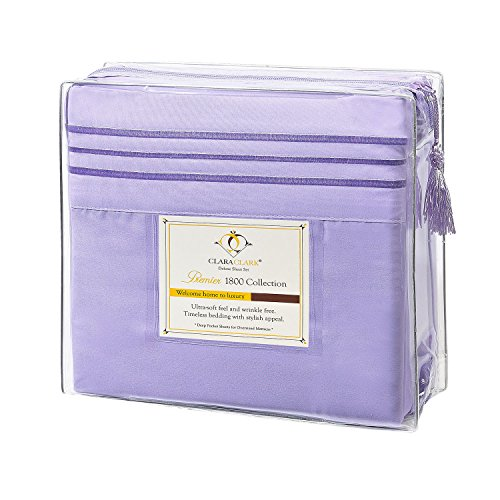 Clara Clark Premier 1800 Collection 3pc Bed Sheet Set - Twin (Single) Size, Lavender (Adult Bed Sheets compare prices)