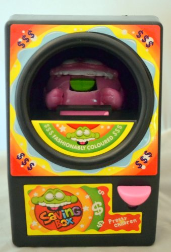 Greedy Frog Childrens Toy Coin Bank - Black Exterior, Pink Frog - 1