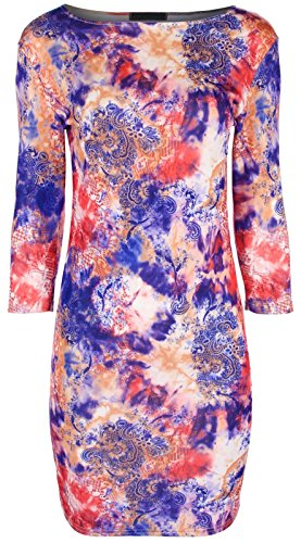 Asfashion Online Women'S Tie Dye Bodycon 6 Coral/Blue