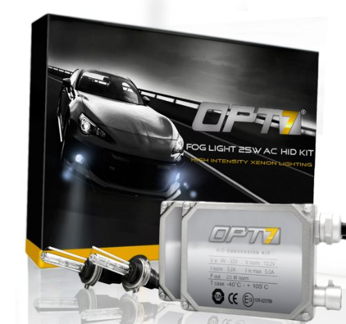 Opt7® Bolt Ac Fog Light 25W Hid Kit W/ Relay Harness & Capacitors - 2 Year Warranty - H11 (10000K, Deep Blue)