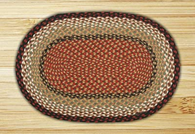 "Earth Rugs C-019 Oval Rug, 27 x 45"", Burgundy/Mustard"