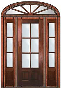 Pre Hung French Side Lights Transom Door 96 Mahogany 3 4 Lite 6 Lite 6 2 Entry Doors