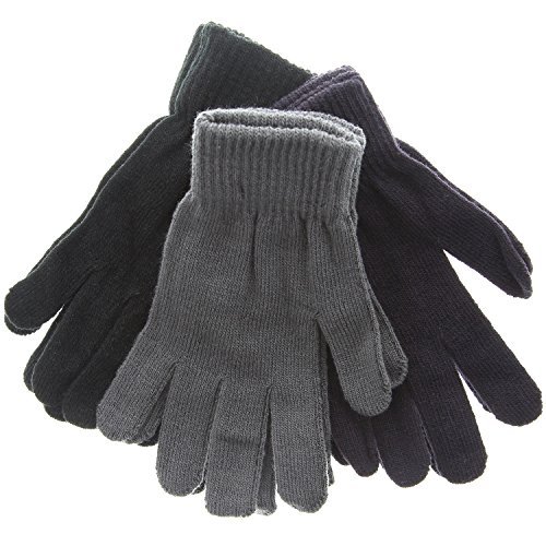 Men's 3 Pack Winter Magic Gloves Stretchy One Size Fits All