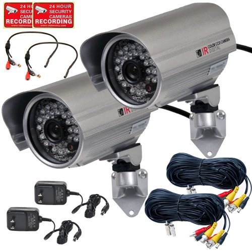 VideoSecu 2 x Outdoor Bullet Security Cameras Built-in 1/3