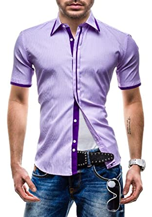 BOLF - Chemise casual - à manches courtes - MODELY HCT - Homme - S Lilas [2B2]