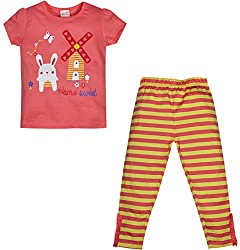 FS Mini Klub Girls' Night suit 3-4 Years (84608T-CORAL3-4Y_4)