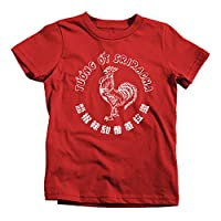 Sriracha Rooster Kids T-Shirt Tee Label Funny Novelty Bottle Red Hot Chili Sauce