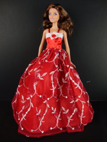 51WVT2QIV%2BL Cheap  A Red Gown with Lots of White Details Made for the Barbie Doll
