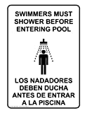 ComplianceSigns Phony Swimming Pool / Spa Sign, 14 x 10 in. with English + Spanish Text, White