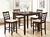 Coaster 5-Piece Cappuccino Dining Set with 4 Barstools