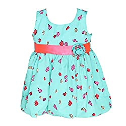 ChipChop Green Empire Waist Casual wear Round Neck Dress for Girls
