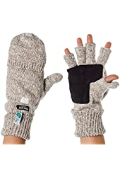 Alki'i Suede Palm 3M Thinsulate Thermal Insulation Fingerless Texting Work Gloves with Mitten Cover