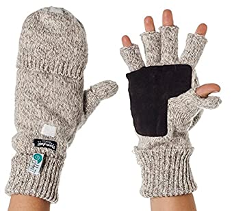 Alki'i Suede Palm Wool Thermal Insulation Fingerless Texting Work Gloves with Mitten Cover, Cream