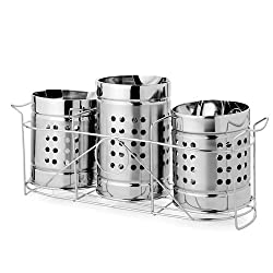 King International Stainless Steel Cutlery Stand Trio Set Triangle Perforation (Set of 4 pieces)