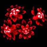 InnooTech Battery Operated Decorative fairy string light Red 40 LED Lotus Flower for indoor outdoor